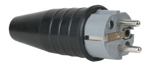 Rubber Schuko 230V/240V CEE7/VII Connector Male Gris