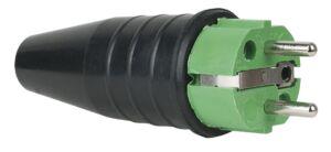 Rubber Schuko 230V/240V CEE7/VII Connector Male Verde