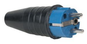 Rubber Schuko 230V/240V CEE7/VII Connector Male Azul