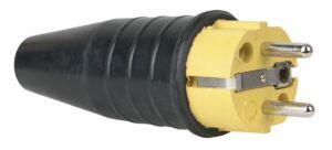 Rubber Schuko 230V/240V CEE7/VII Connector Male Amarillo