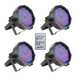 Pack 4 x Cameo FLAT PAR CAN RGB 10 SET 144 x 10 mm + mando