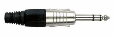6.3 mm. Jackplug stereo, Nickel housing Cápsula negra