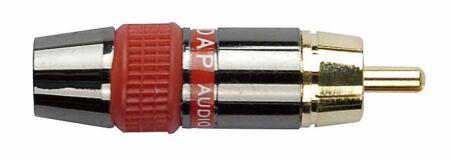RCA macho. Conector negro. Cápsula roja