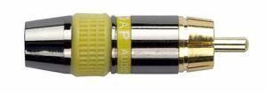 RCA macho. Conector negro. Cápsula amarilla