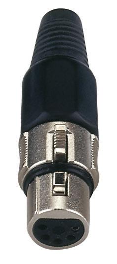 XLR 5p. Connector, Nickel housing Hembra, cápsula negra
